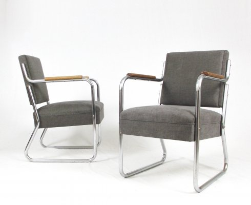 Pair of rationalist lounge chairs, 1940s