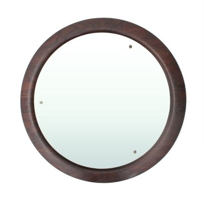 Italian Mid-century plywood curved frame mirror by Mac, 1960s