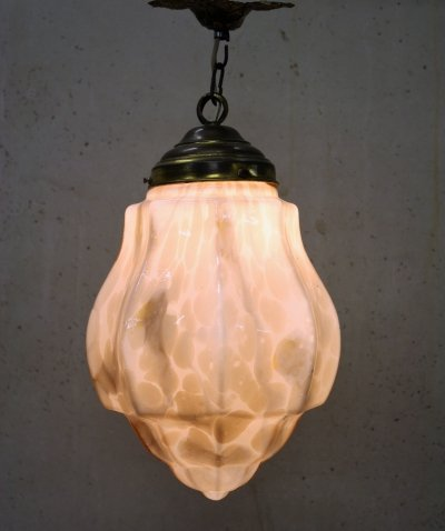 Pink Art deco Pendant Light with Marbled Glass