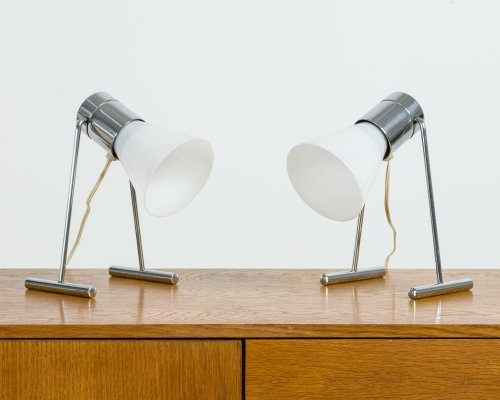 Set of 2 flexible glass table lamps, 70's
