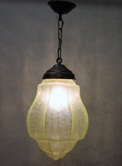Green Art deco Pendant Light with Crackle Glass, 1930's
