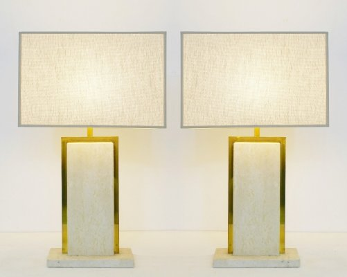 Pair Of Travertine Table Lamps By Camille Breesch, Belgium 1970