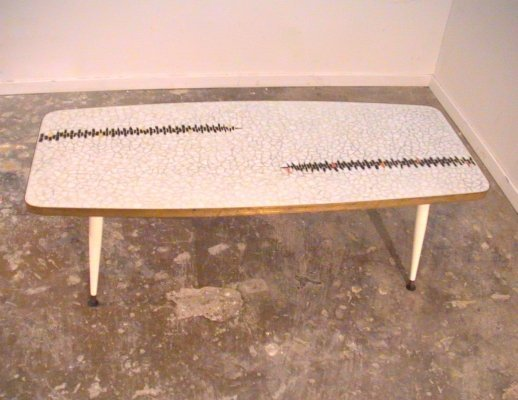 Mosaic & brass coffee table, 1950s