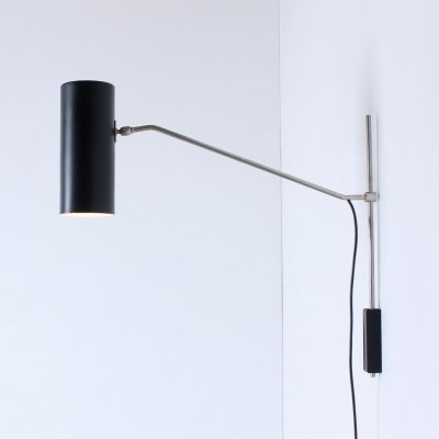 Black 'Model 7079' cilinder adjustable metal wall light by J. Hoogervorst for Anvia Almelo