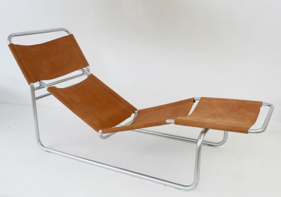 Chrome And Leather Lounge Chair, 1980s