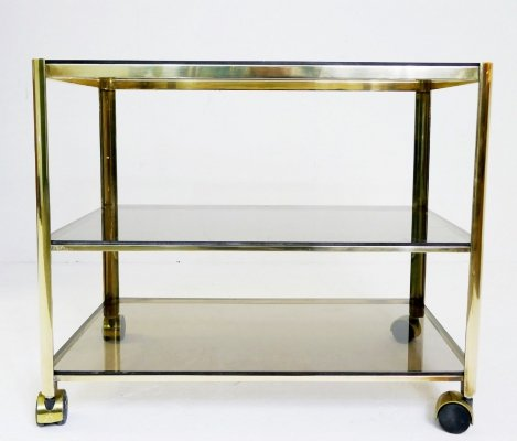 Bronze & Glass Tree-Tiers Drinks Trolley by Jacques Quinet for Maison Malabert, 1960s