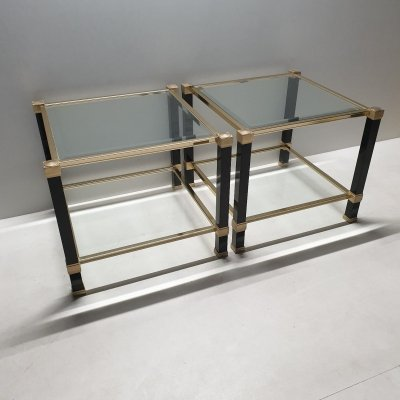 Brass 2-Tiers Square Side Tables by Pierre Vandel