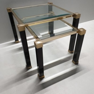 Brass two tone nesting tables by Pierre Vandel