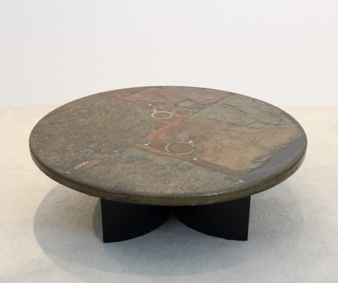 Brutalist Paul Kingma One-Off Ceramic & Brass Artwork Coffee Table, Holland 1970s