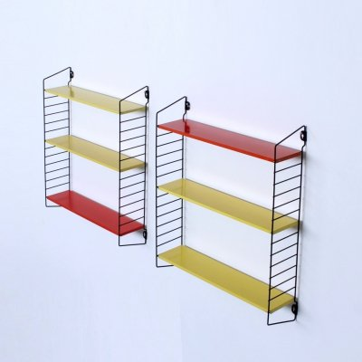 Pair of colored metal 'Pocket series' shelving units by Tomado Holland