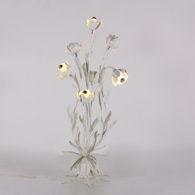 Hans Kögl white flowers floorlamp with 7 bulbs, 1970s