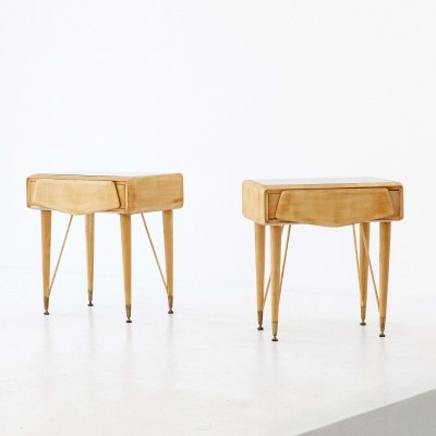Pair of Italian Maple Wood & Glass Bedside Tables, 1950s