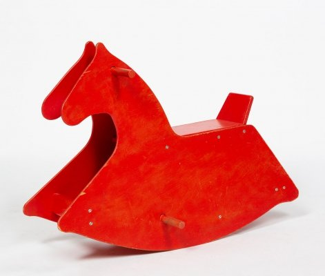 Swiss Rocking horse in original red lacquered plywood, 1960s