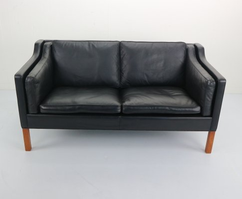 Two-Seat Black Leather 'Model 2212' Sofa by Børge Mogensen for Fredericia A/S, 1960