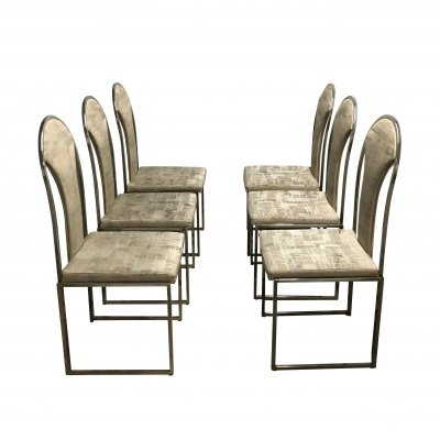 Set of 6 Vintage brass dining chairs by Belgo Chrom, 1970s
