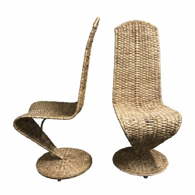 Pair of Marzio Cecchi rattan 'S' lounge chairs, 1970s