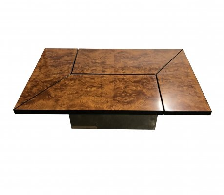 Vintage burl wood coffee table by Paul Michel, 1970s