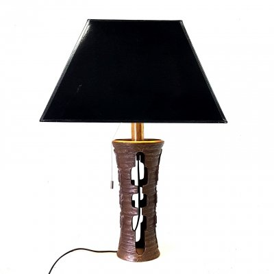 Cast bronze table lamp with a high gloss black hood, 1970s
