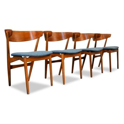 Set of 4 Vintage Helge Sibast 'Model 7' teak dining chairs