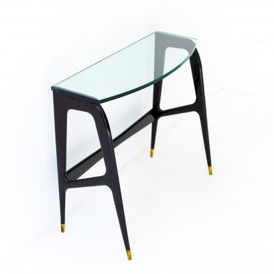 Italian black lacquared wood & glass console