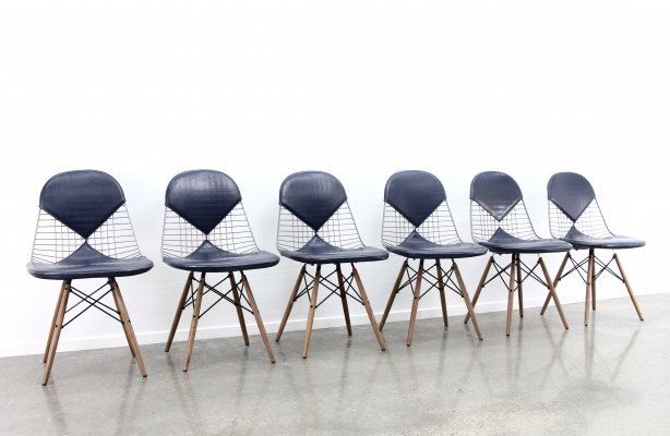 Set of 6 Eames Bikini DSW chairs, 1970s