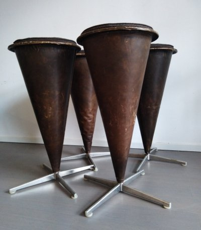 Set of 4 stools by Verner Panton for Plus Linje, 1950s