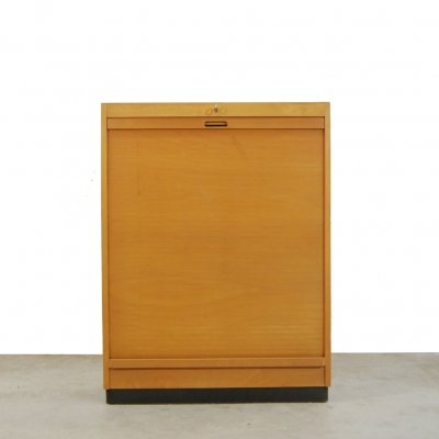 Vintage birch cabinet with roller by Ekawerk Lippe, Horn 1950s
