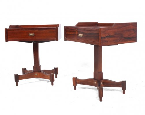 Pair of Italian Rosewood Bedside Tables by Sormani