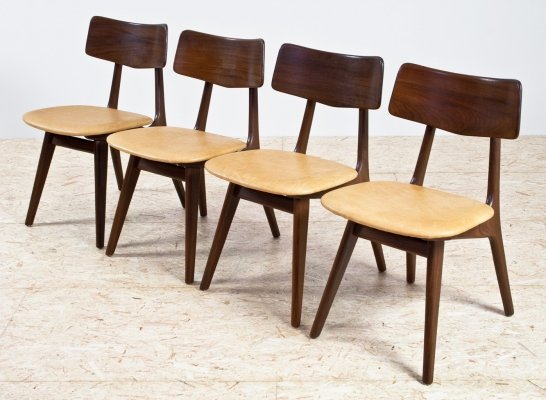 Set of 4 WeBe dining room chairs in leather & teak, 1960s