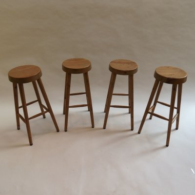 Set of 4 Hand produced Pine Tall stools, 1970s