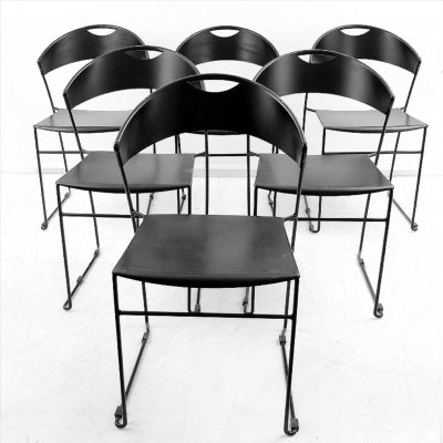 Set of 6 Black Metal Dining Room Chairs, 1980s