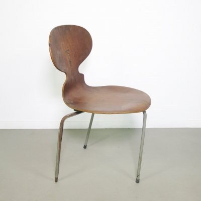Early 3 legged teak Ant / model 3100 chair by Arne Jacobsen for Fritz Hansen