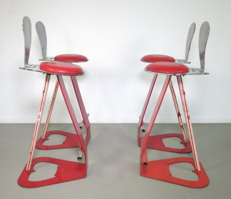 Set of 4 Pop-Art barstools, 1970's