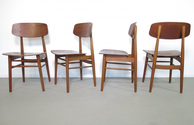 Set of 4 dining chairs by Børge Mogensen for Soborg Mobler, 1960s