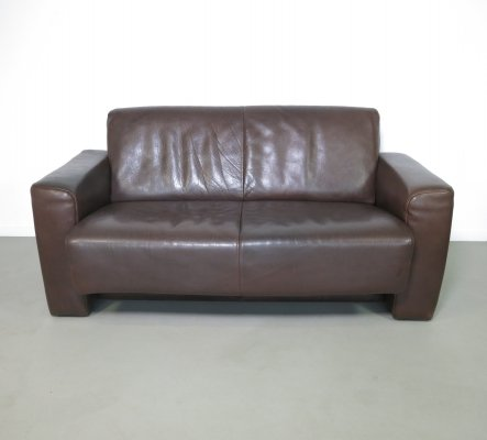 Neck leather 2 seater sofa by Leolux, 1970s