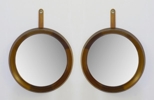Set of 2 Wood Frame Ledge Round Wall Mirrors