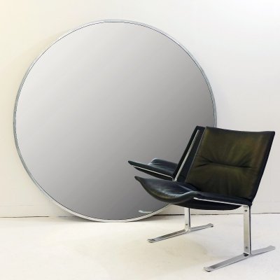Metal Framed Oversized Round Mirror, 1970s