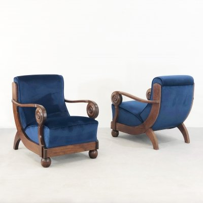 Exceptional French art deco armchairs, 1930s