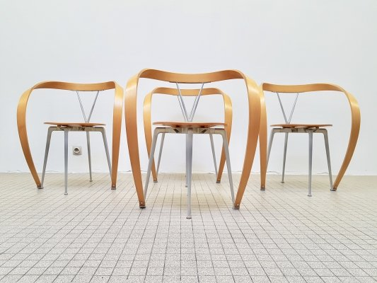 Set of 4 Cassina 'Revers' dining chairs by Andrea Branzi, 1990s