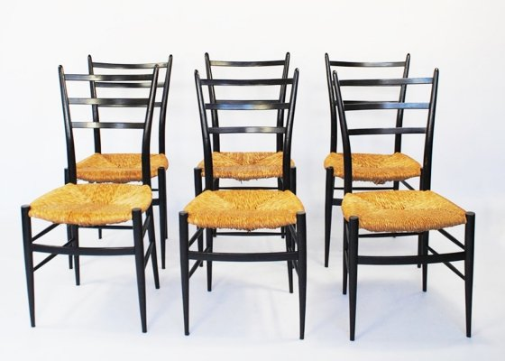 Set of 6 Spinetto dining chairs by Chiavari, 1950s