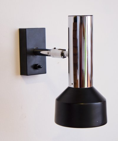 1970s Black & Chrome Wall Lamp by Staff