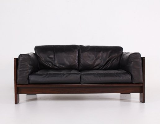 Rosewood & leather Bastiano sofa By Tobia & Afra Scarpa for Gavina