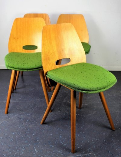 Set of 4 dining chairs by Frantiŝek Jirák for Tatra Nabytok NP, 1960s