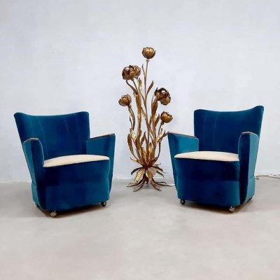 Set of 2 'ocean blue' midcentury design cocktail club chairs