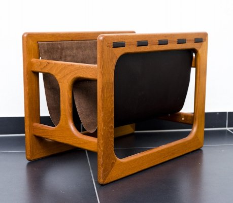 Teak & Leather Magazine Rack from Salin Møbler