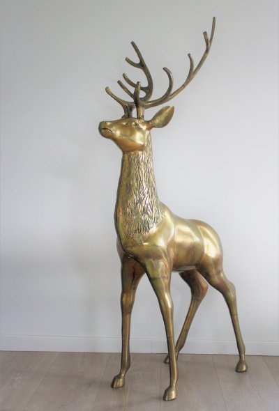 Large brass deer sculpture, 1970s