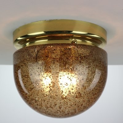 Doria Amber Color Air Bubble Glass & Brass Ceiling Lamp, 1960s