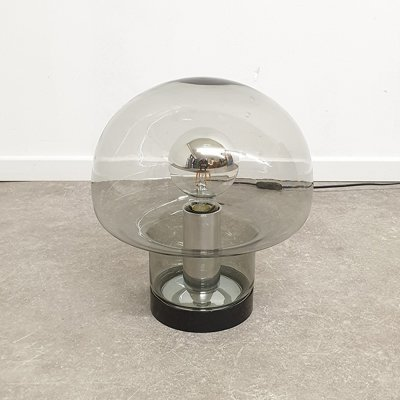 Glass & chrome Peill & Putzler mushroom table lamp
