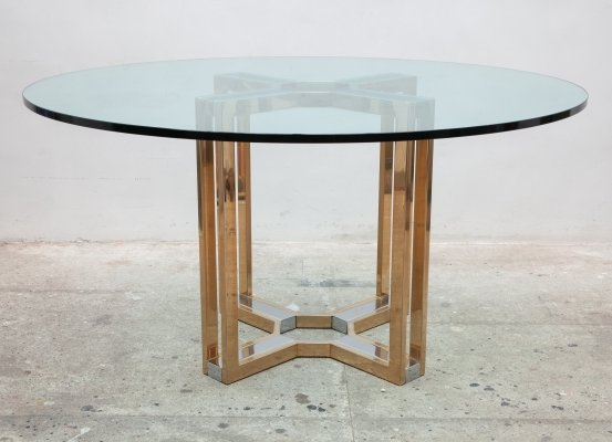 Romeo Rega Gold & Chrome Round Glass Top Centre Table, Italy 1970s