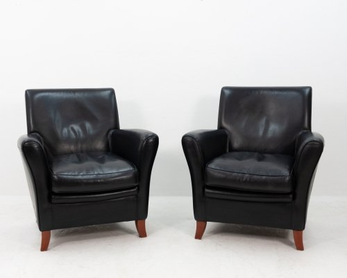 Two black Leather Baxter club chairs